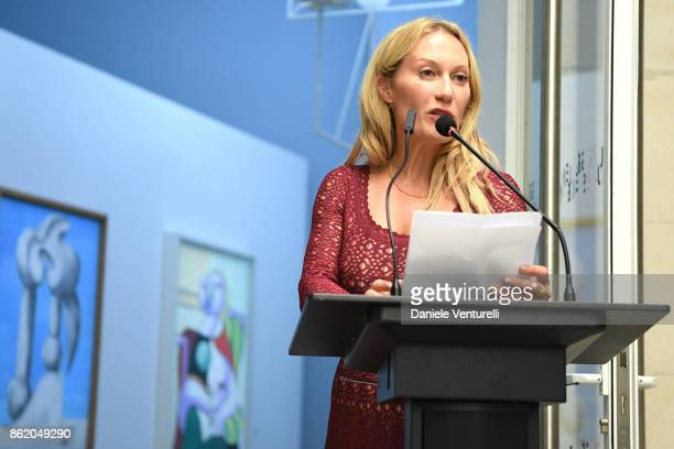 Diana Widmaier Picasso pronounces a speech after receiving the Chevalier and Officier de Ordre des Arts et des Lettres Medals at the Musee Picasso on...