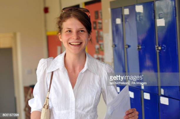 Diana Zinchenko who arrived from Ukraine aged 13 and achieved seven A grade Alevels holds her results at Chelmsford County High School for Girls