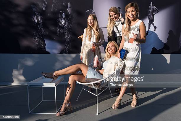 Diana zu Loewen Carmen Mercedes Kristina Derichs and Kisu are seen in the Quickcap car during the MercedesBenz Fashion Week Berlin Spring/Summer 2017...