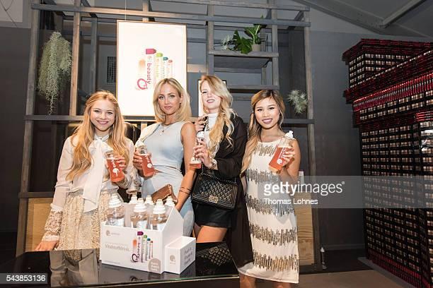 Diana zu Loewen Carmen Mercedes Kristina Derichs and Kisu are seen with Quickcap bottles during the MercedesBenz Fashion Week Berlin Spring/Summer...