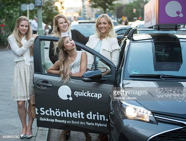 Diana zu Loewen Kristina Derichs Kisu and Carmen Mercedes are seen in the Quickcap car during the MercedesBenz Fashion Week Berlin Spring/Summer 2017...