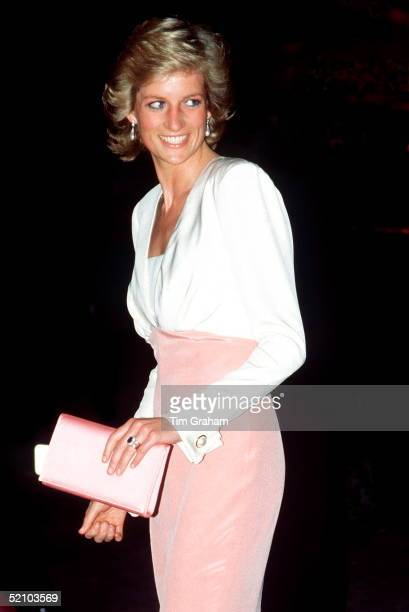 Dianaprincess Of Wales At The Coliseum For The Ballet 'swan Lake' Diana's Dress Is By Fashion Designer Catherine Walker