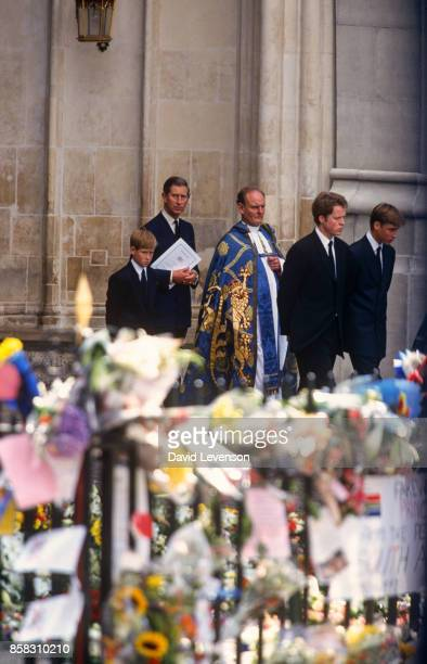 Diana's coffin leaves Westminster Abbey London England at the funeral of Diana Princess of Wales September 6 1997 Followed by Prince Harry Prince...