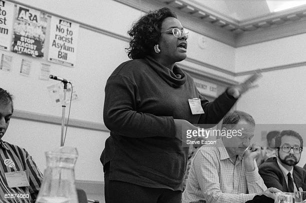 Diane Abbott addresses an ARA conference 30th September 1992 Ken Livingstone is seated to the right of her