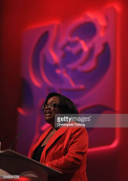 Diane Abbott MP addresses delegates on the third day of the Labour party conference at Manchester Central on September 28 2010 in Manchester England...