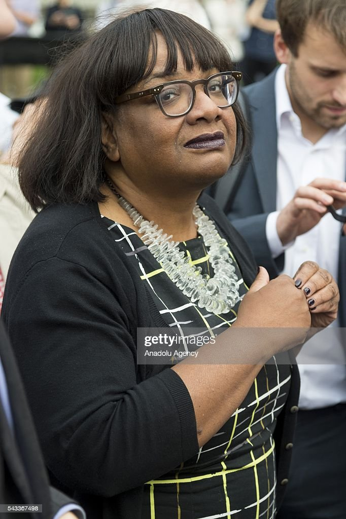 Diane Abbot MP (R) arrives at a rally in Parliament Square organised by the Momemtum organisation to keep Jeremy Corbyn as Labour party leader after the EU Referendum in London, United Kingdom on June 27, 2016
