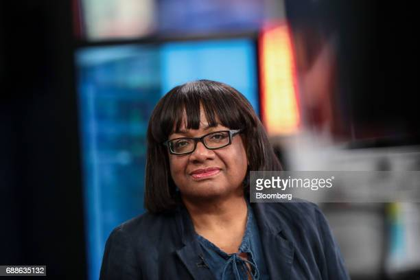 Diane Abbott UK opposition Labour Party home affairs spokesperson pauses during a Bloomberg Television Interview in London UK on Friday May 26 2017...