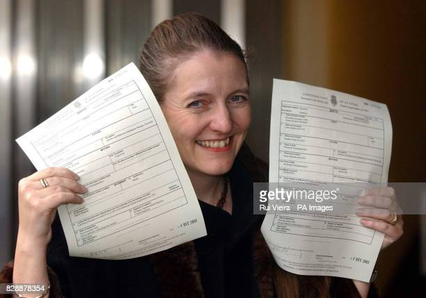 Diane Blood shows birth certificates for sons Liam and Joel bearing the name of their father at Sheffield District Register Office after Mrs Blood...