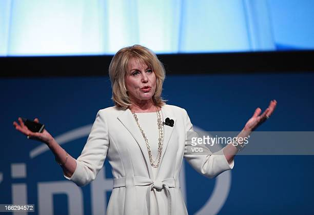 Diane Bryant senior vice president and general manager of the Datacenter and Connected Systems Group for Intel Corporation speeks during Intel...