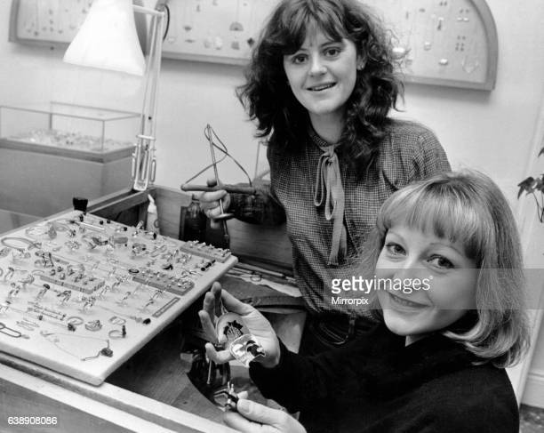 Diane Cross Jeweller she runs a Jewellery Workshop in Harborne High Street Birmingham pictured with colleague 14th February 1980