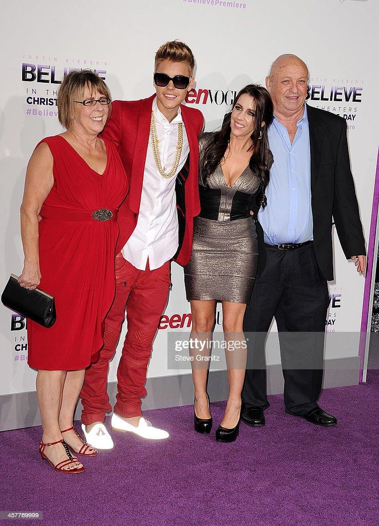 Diane Dale Producer/singer Justin Bieber Pattie Mallette and Bruce Dale attend 'Justin Bieber's Believe' world premiere at Regal Cinemas LA Live on...