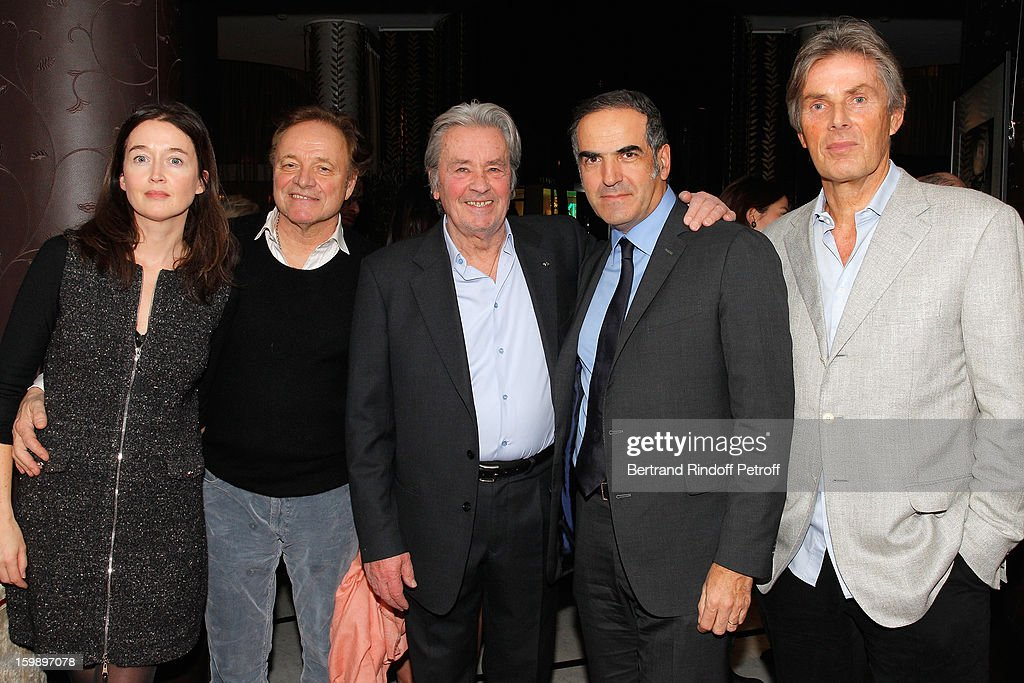Diane de Mac Mahon, her husband Guillaume Durand, Alain Delon, Christopher Baldelli and Dominique Desseigne attend 'La Petite Maison De Nicole' Inauguration Cocktail at Hotel Fouquet's Barriere on January 22, 2013 in Paris, France.