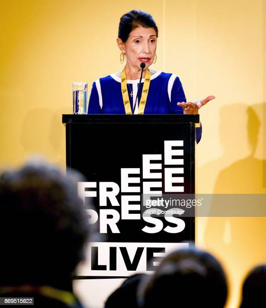 Diane Foley mother of US journalist James Foley who was killed by Islamic State militants gives a speech at the Free Press Live event in the Peace...
