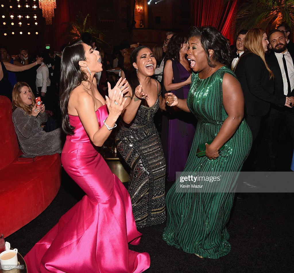 Diane Guerrero and Uzo Aduba attend People and EIF's Annual Screen Actors Guild Awards Gala at The Shrine Auditorium on January 30 2016 in Los...