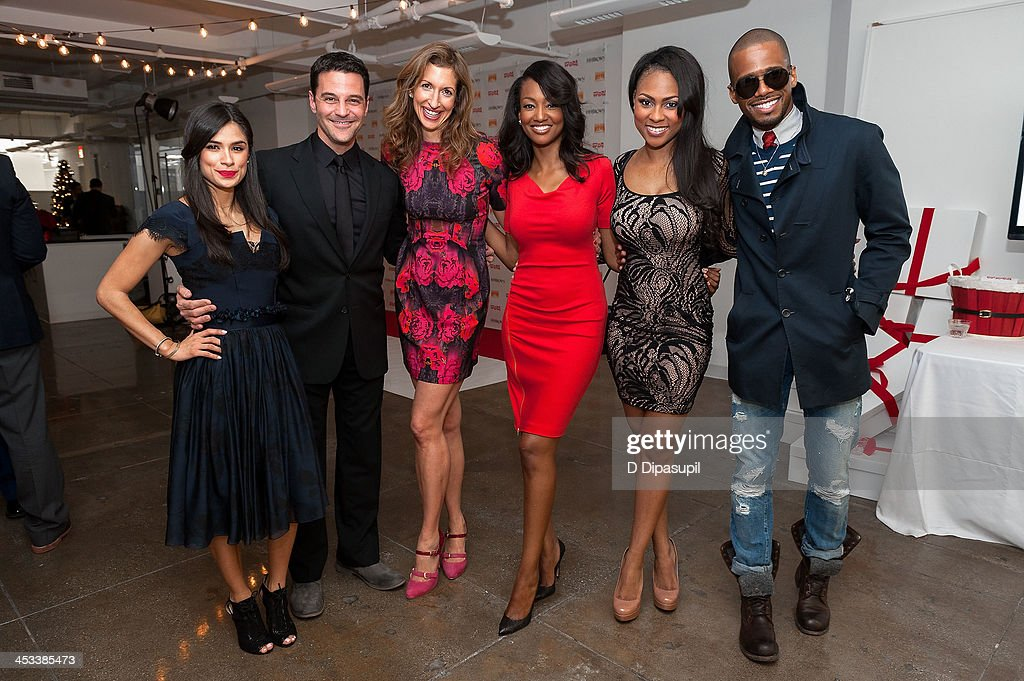 Diane Guerrero, <a gi-track='captionPersonalityLinkClicked' href=/galleries/search?phrase=David+Alan+Basche&family=editorial&specificpeople=612876 ng-click='$event.stopPropagation()'>David Alan Basche</a>, <a gi-track='captionPersonalityLinkClicked' href=/galleries/search?phrase=Alysia+Reiner&family=editorial&specificpeople=655685 ng-click='$event.stopPropagation()'>Alysia Reiner</a>, Nichole Galicia, Tashiana Washington, and Eric West attend the H.H. Brown Shoe Company Season Of Giving Holiday Party on December 3, 2013 in New York City.