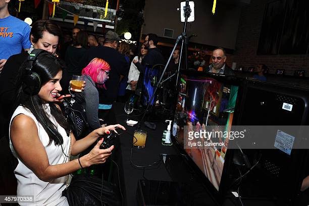 Diane Guerrero get hands on with Sunset Overdrive and the hottest games on Xbox One on October 27 2014 in New York City