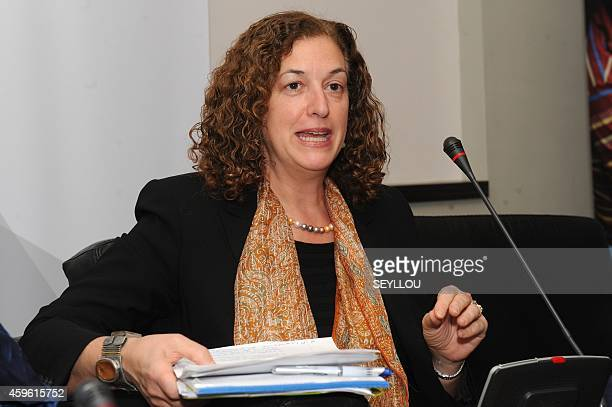 Diane Jacovella Canadian Assistant Deputy Minister of Global Issues and Development speaks on November 26 2014 in Dakar during a conference focused...