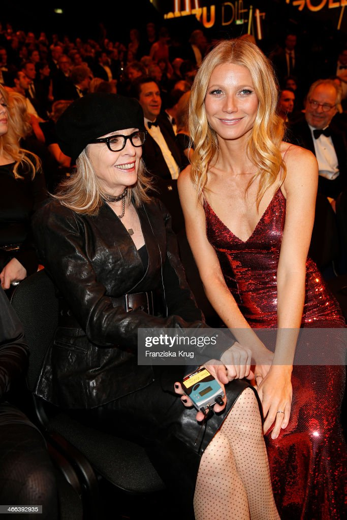 <a gi-track='captionPersonalityLinkClicked' href=/galleries/search?phrase=Diane+Keaton&family=editorial&specificpeople=201554 ng-click='$event.stopPropagation()'>Diane Keaton</a> and <a gi-track='captionPersonalityLinkClicked' href=/galleries/search?phrase=Gwyneth+Paltrow&family=editorial&specificpeople=171431 ng-click='$event.stopPropagation()'>Gwyneth Paltrow</a> attend the Goldene Kamera 2014 at Tempelhof Airport on February 01, 2014 in Berlin, Germany.