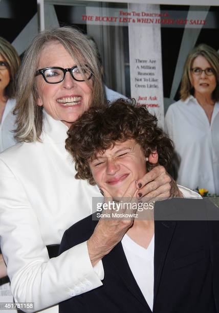 Diane Keaton and her son Duke Keaton attend the 'And So It Goes' premiere at Guild Hall on July 6 2014 in East Hampton New York
