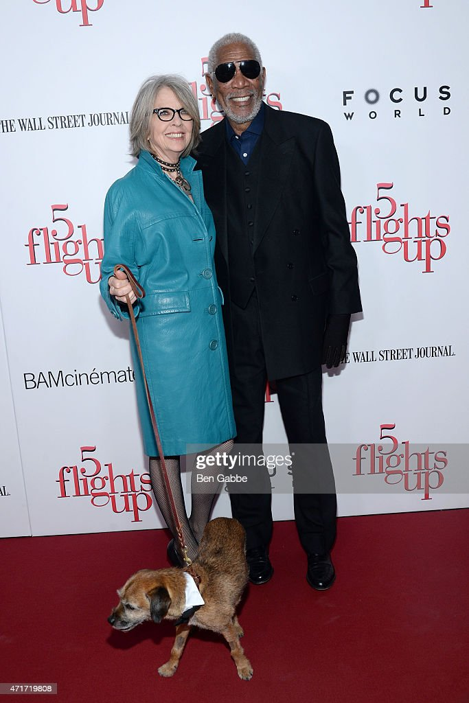 Diane Keaton (L) and Morgan Freeman attend the '5 Flights Up' New York premiere at BAM Rose Cinemas on April 30, 2015 in New York City.