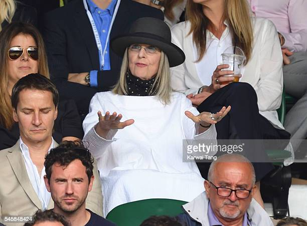 Diane Keaton attends the Men's Final of the Wimbledon Tennis Championships between Milos Raonic and Andy Murray at Wimbledon on July 10 2016 in...