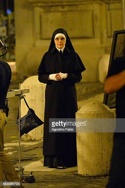 Diane Keaton is seen on set filming the new TV series of Paolo Sorrentino 'The Young Pope' near Saint Peter's church on August 11 2015 in Rome Italy