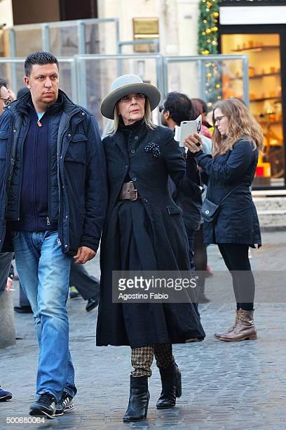 Diane Keaton is seen walking in Rome on December 9 2015 in Rome Italy