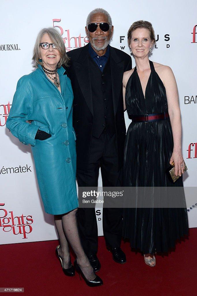 Diane Keaton, Morgan Freeman and Cynthia Nixon attend the '5 Flights Up' New York premiere at BAM Rose Cinemas on April 30, 2015 in New York City.