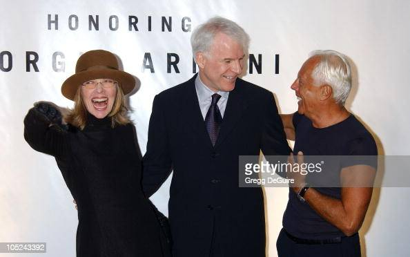 Diane Keaton Steve Martin and Giorgio Armani during Giorgio Armani Receives First 'Rodeo Drive Walk Of Style' Award at Rodeo Drive in Beverly Hills...