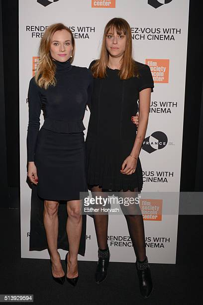 Diane Kruger and Alice Winocour attend 2016 RendezVous With French Cinema 'Disorder' at Furman Gallery on March 5 2016 in New York City