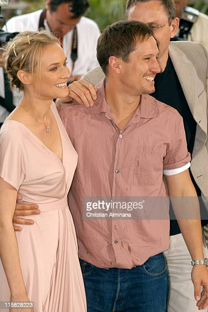 Diane Kruger and Benno Furmann during 2005 Cannes Film Festival 'Joyeux Noël' Photocall at Palais de Festivals in Cannes France