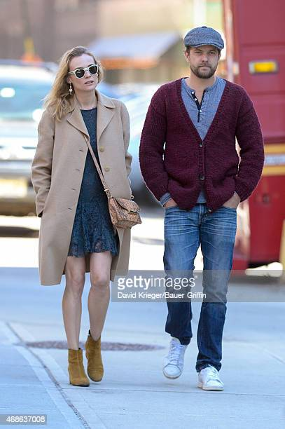 Diane Kruger and Joshua Jackson are seen in New York City on April 04 2015 in New York City
