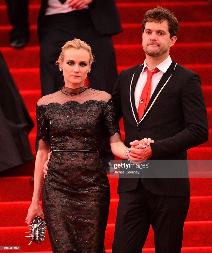 Diane Kruger and Joshua Jackson depart the Costume Institute Gala for the 'PUNK: Chaos to Couture' exhibition at the Metropolitan Museum of Art on May 6, 2013 in New York City.