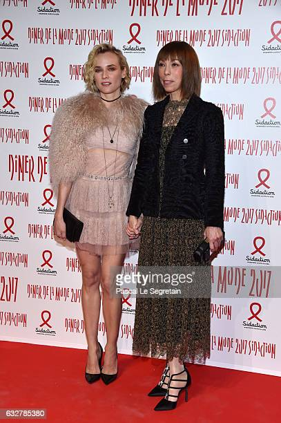 Diane Kruger and Mathilde Favier attend the Sidaction Gala Dinner 2017 Haute Couture Spring Summer 2017 show as part of Paris Fashion Week on January...