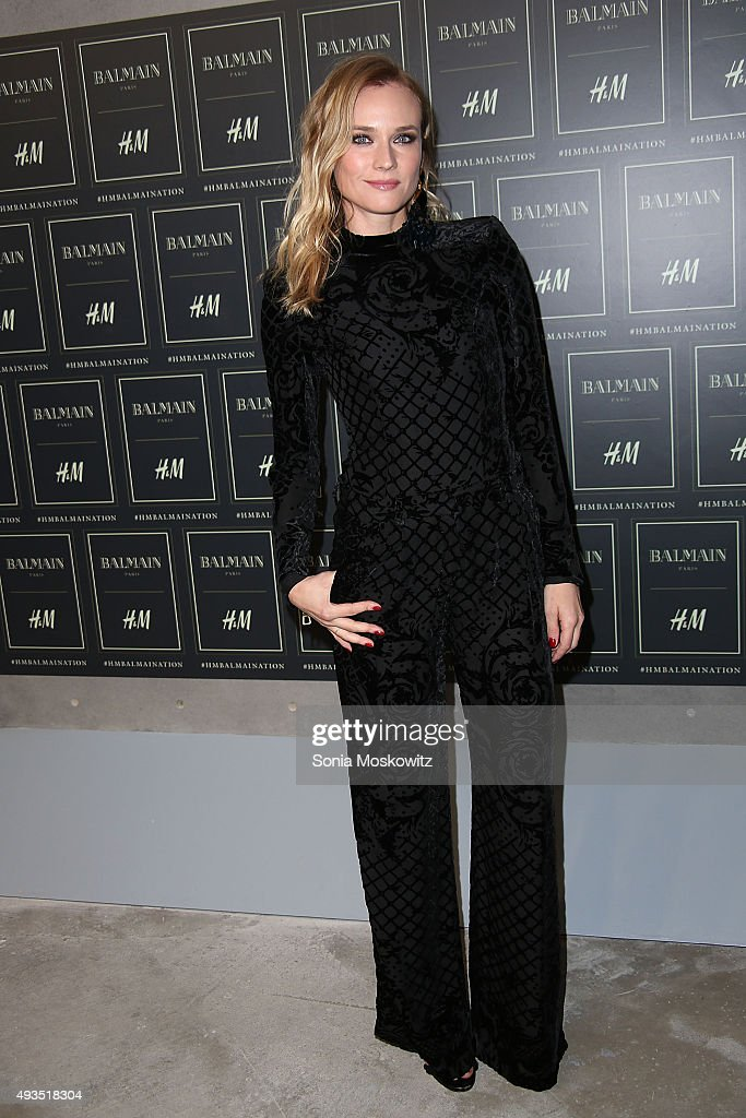 Diane Kruger arrives at the BALMAIN X H&M collection launch event at 23 Wall Street on October 20, 2015 in New York City.