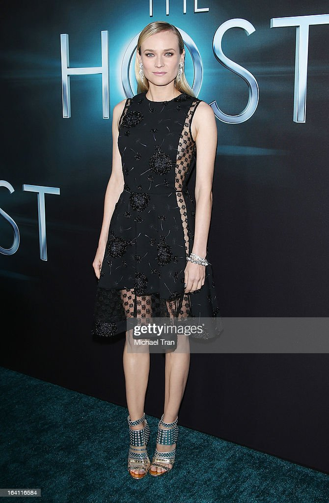 <a gi-track='captionPersonalityLinkClicked' href=/galleries/search?phrase=Diane+Kruger&family=editorial&specificpeople=202640 ng-click='$event.stopPropagation()'>Diane Kruger</a> arrives at the Los Angeles premiere of 'The Host' held at ArcLight Cinemas Cinerama Dome on March 19, 2013 in Hollywood, California.