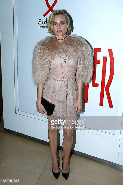 Diane Kruger attends the Sidaction Gala Dinner 2017 Haute Couture Spring Summer 2017 show as part of Paris Fashion Week on January 26 2017 in Paris...