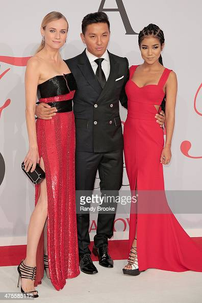 Diane Kruger designer Prabal Gurung and Jhene Aiko attend the 2015 CFDA Fashion Awards at Alice Tully Hall at Lincoln Center on June 1 2015 in New...