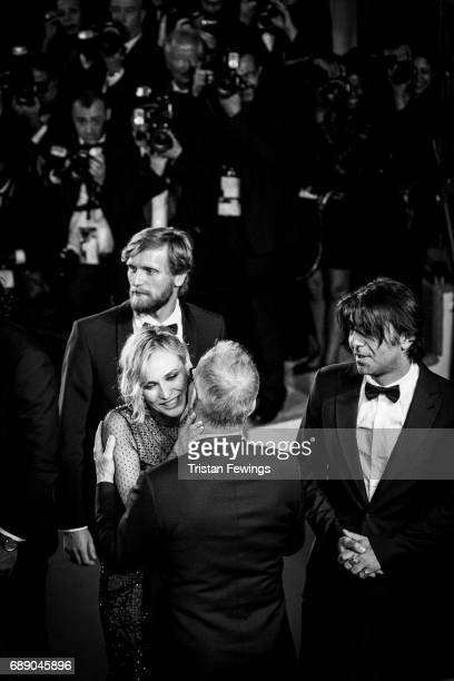 Diane Kruger greets director of the Cannes Film Festival Thierry Fremaux attends the 'In The Fade ' screening during the 70th annual Cannes Film...