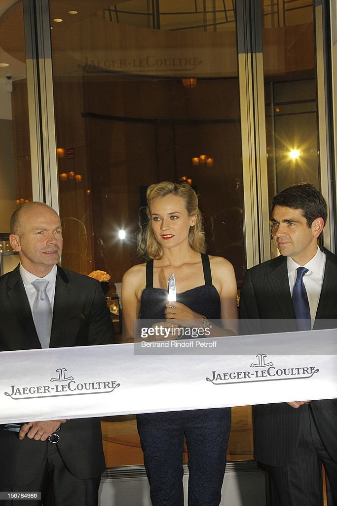 Diane Kruger (C), Guillain Maspetiol, Director General France of Jaeger-LeCoultre (L) and Jerome Lambert, CEO of Jaeger-LeCoultre, prepare to cut the ribbon as they attend Jaeger-LeCoultre Vendome Boutique Opening at Jaeger-LeCoultre Boutique on November 20, 2012 in Paris, France .