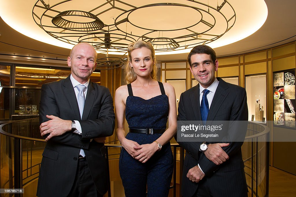 Diane Kruger (C), Guillain Maspetiol (L), Director General France of Jaeger-Le Coultre, and Jerome Lambert, CEO of Jaeger-LeCoultre attend Jaeger-LeCoultre Vendome Boutique Opening at Jaeger-LeCoultre Boutique on November 20, 2012 in Paris, France.