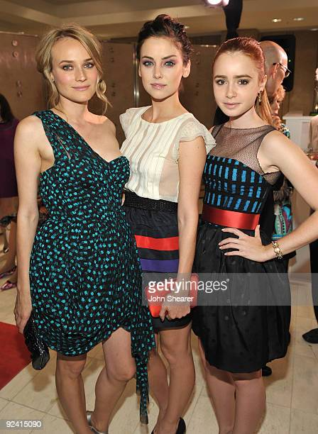Diane Kruger Jessica Stroup and Lily Collins attend the preview of Jason Wu Spring 2010 collection at Neiman Marcus on October 27 2009 in Beverly...