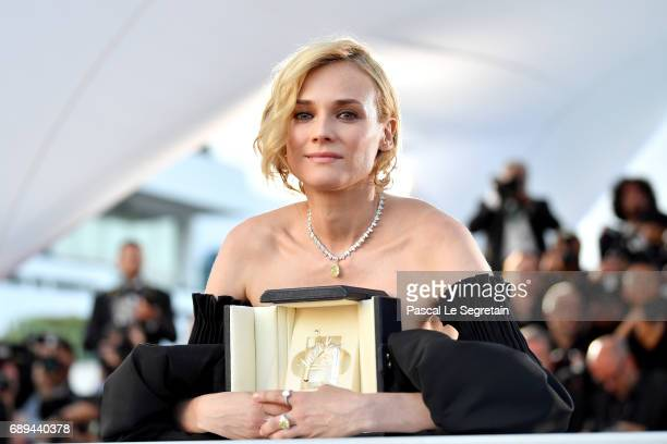 Diane Kruger winner of the award for best actress for her part in the movie 'In The Fade' attends the Palme D'Or winner photocall during the 70th...