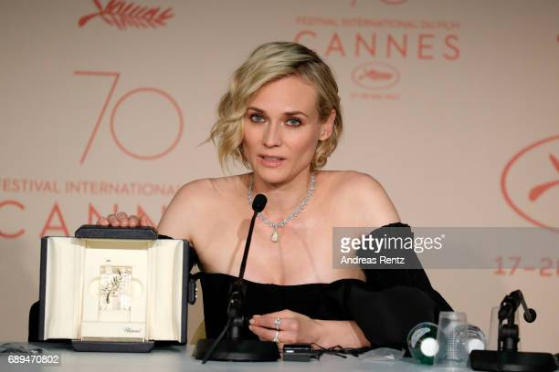 Diane Kruger winner of the award for best actress for her part in the movie 'In The Fade' attends the Palme D'Or winner press conference during the...