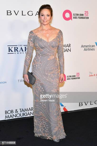 Diane Lane attends the Elton John AIDS Foundation's Annual Fall Gala with Cocktails By Clase Azul Tequila at Cathedral of St John the Divine on...