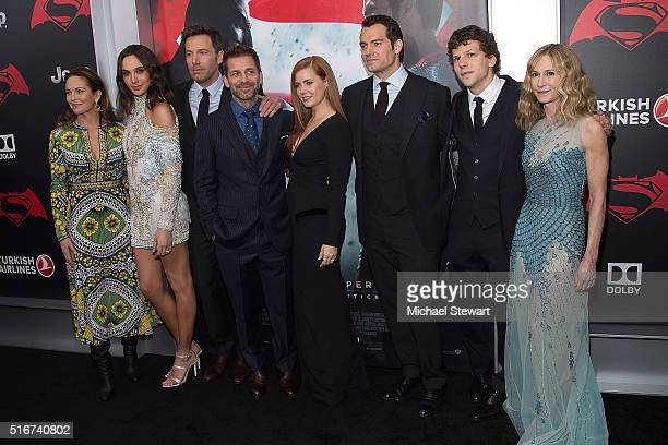 Diane Lane Gal Gadot Ben Affleck Zack Snyder Amy Adams Henry Cavill Jesse Eisenberg and Holly Hunter attend the 'Batman V Superman Dawn Of Justice'...