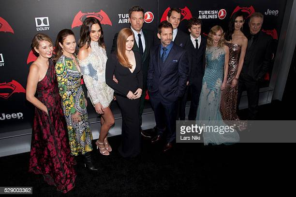 Diane Lane Gal Gadot Ben Affleck Zack Snyder Amy Adams Henry Cavill Jesse Eisenberg Holly Hunter Tao Okamoto and Charles Roven attend the 'Batman V...