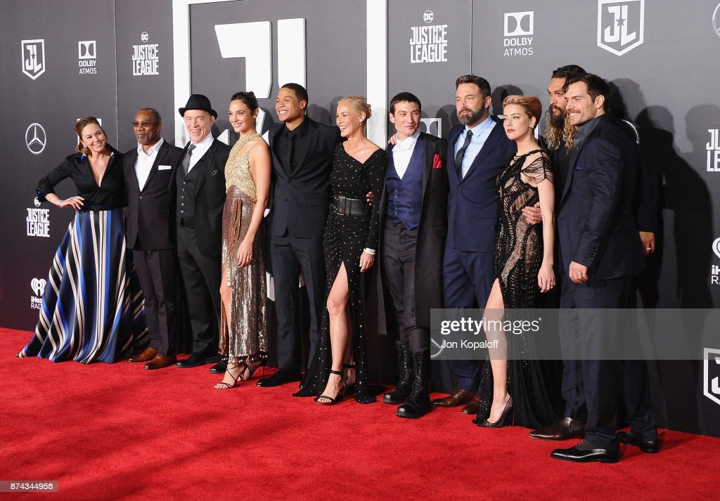 Diane Lane, Joe Morton, J.K. Simmons, Gal Gadot, Ray Fisher, Connie Nielsen, Ezra Miller, Ben Affleck, Amber Heard, Jason Momoa and Henry Cavill attend the Los Angeles Premiere of Warner Bros. Pictures' 'Justice League' at Dolby Theatre on November 13, 2017 in Hollywood, California.