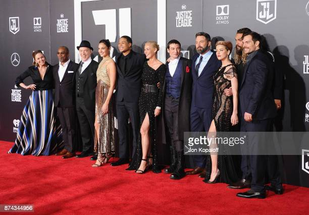 Diane Lane Joe Morton JK Simmons Gal Gadot Ray Fisher Connie Nielsen Ezra Miller Ben Affleck Amber Heard Jason Momoa and Henry Cavill attend the Los...