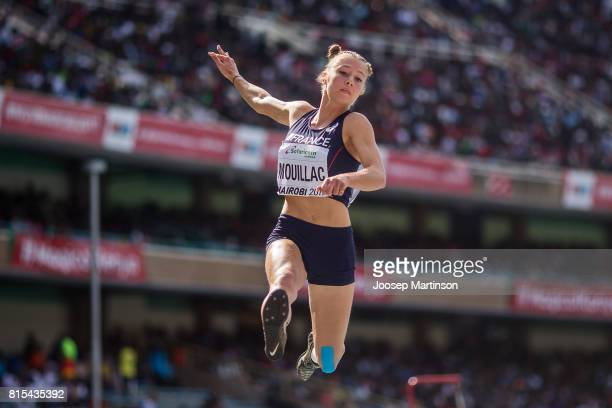 Diane Mouillac of France competes in the girls long jump during day 5 of the IAAF U18 World Championships at Moi International Sports Centre Kasarani...